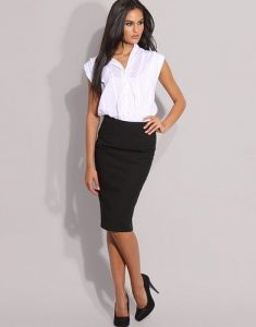 Women formal wear white shirt with skirt