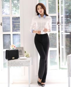 Women formal wear white shirt with trousers