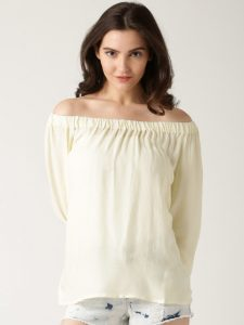 Cream off shoulder top under Rs.600