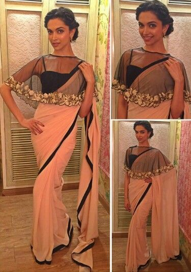Deepika Padukone in sheer cape blouse and saree
