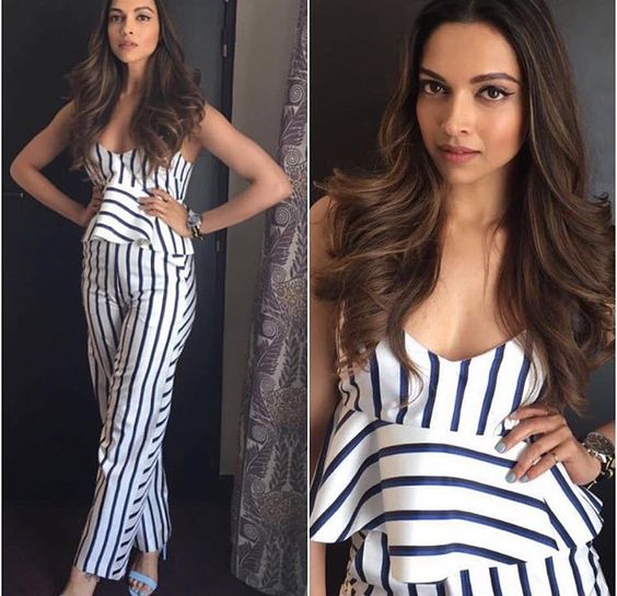 Deepika Padukone stripe fashion for Tour de France