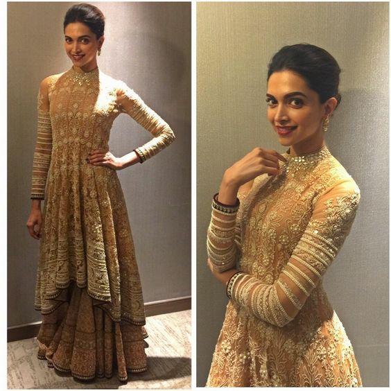 Deepika in golden ethnic suit for Bajirao promotion