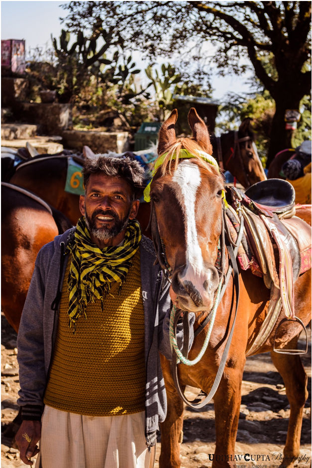 Man and Horse, Nainital by Uddhav Gupta