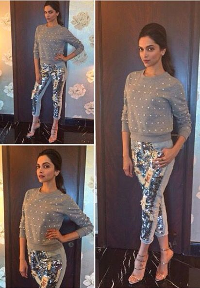 Metallic denim look of Deepika Padukone