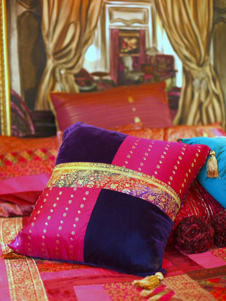 Old silk saree into cushion cover