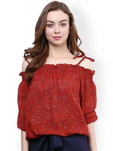 Printed off shoulder top from Myntra under Rs.600