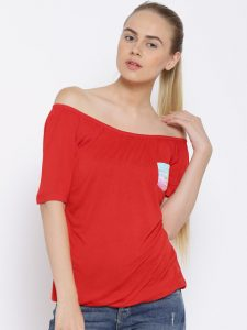 Red off shoulder top under Rs.600 from Myntra