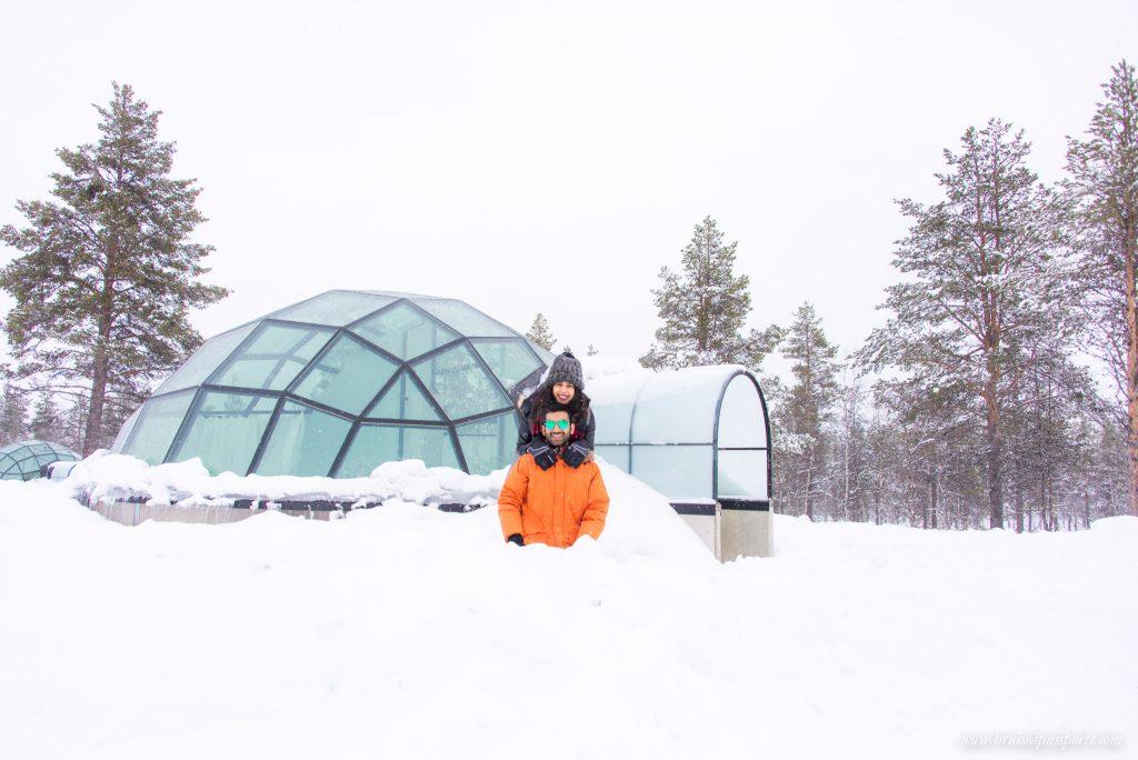 Savi and Vid at their igloo at the Arctic Circle