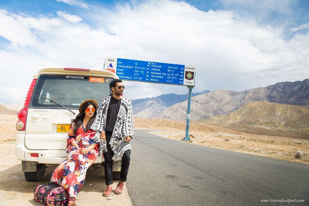 Savi and Vid on their roadtrip to Ladakh, India