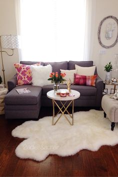 Fur area rug for the living room