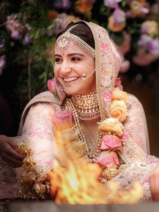 Anushka Sharma light pink lehenga